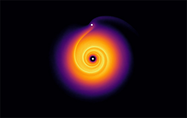 image credit_ Computer model showing the spiral pattern generated by a newborn planet orbiting in a disc of gas around a young star. Credit Pinte et al 2018.jpg