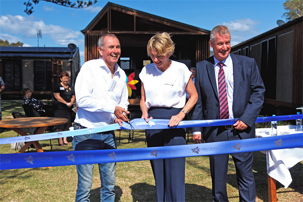 L-R_Member for Clarence Chris Gulaptis MP with Chair Wendy Machin and CEO Steve Edmonds of Reflections Holiday Parks - Opening new cabin precinct at Evans Head_s.jpg
