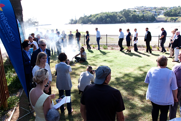 Smoking Ceremony and Welcome to Country held by Michael Laurie of Aagal Yaluuwi Creations at Reflections Evans Heads - opening of new cabin precinct_s.jpg